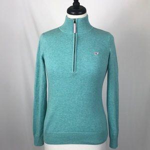 Vineyard Vines Women's 1/4 Zip Sweater Teal XS